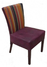 Capital Wooden Side Chair with Upholstered Seat and Back in Dark Walnut and Striped Fabric
